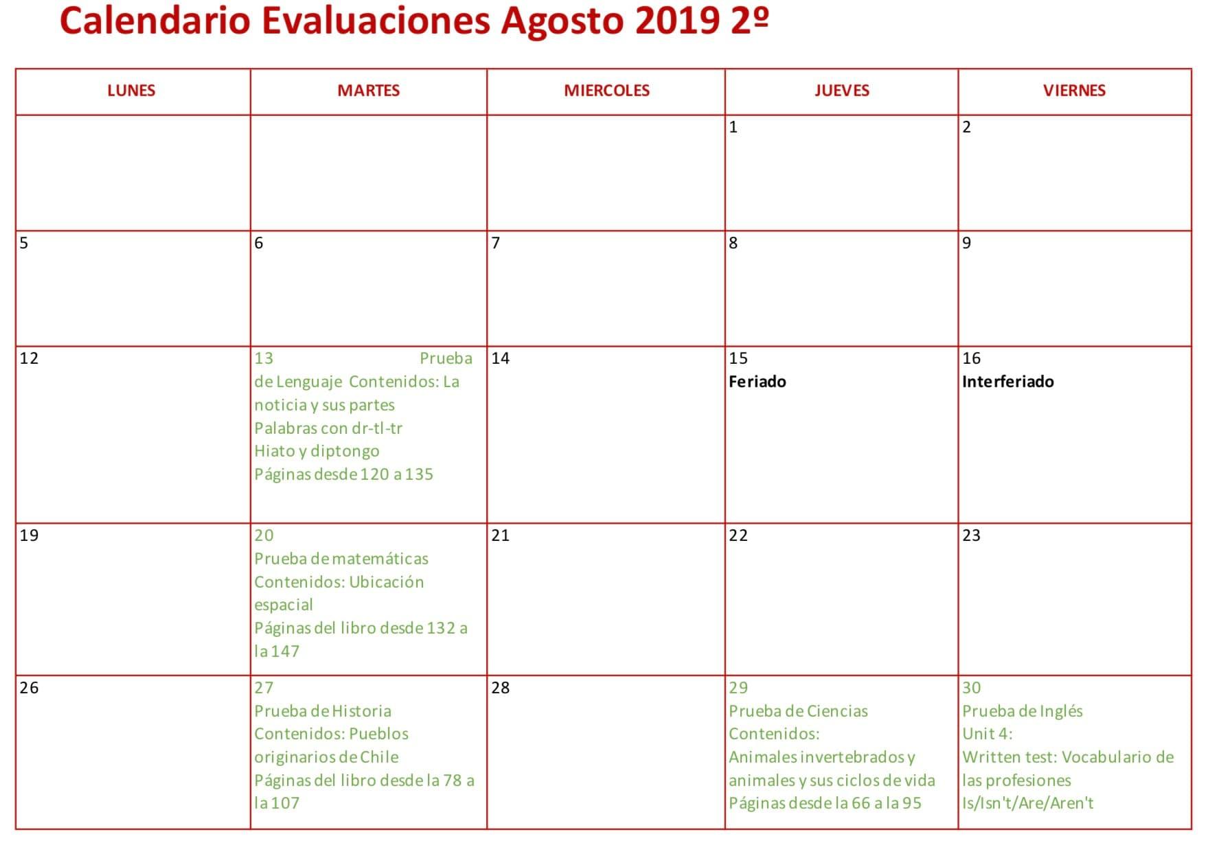 Calendario evaluaciones agosto 2º