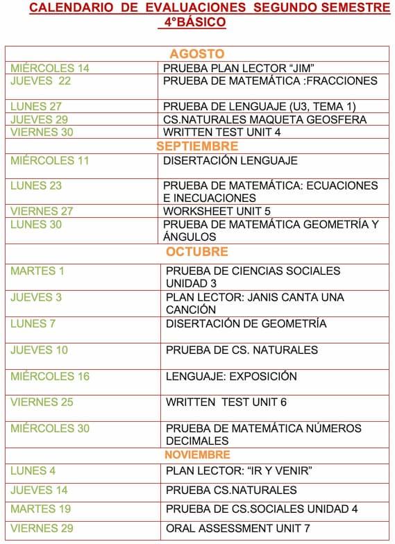 Evaluaciones segundo semestre 4º