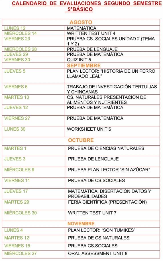 Evaluaciones segundo semestre 5º